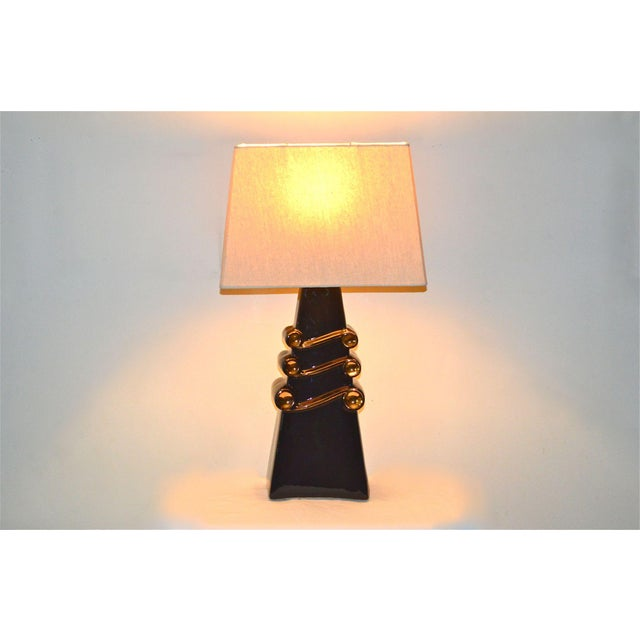 Mid-Century Black and Gold Lamp For Sale - Image 4 of 11