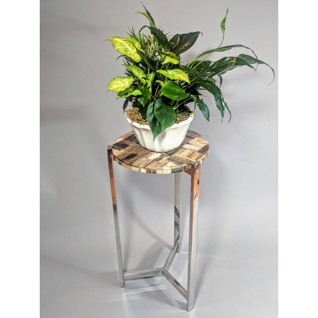 Contemporary Organic Modern Petrified Wood and Chrome Side Table For Sale - Image 3 of 13