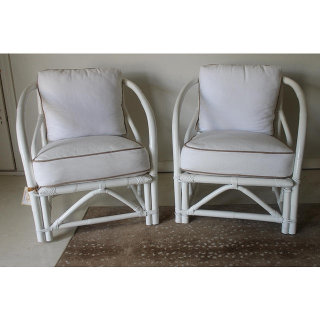 Vintage Mid Century White Bamboo Chairs - a Pair For Sale - Image 12 of 12