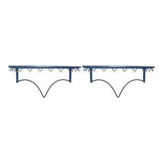 Blackened Steel Hanging Shelves - A Pair