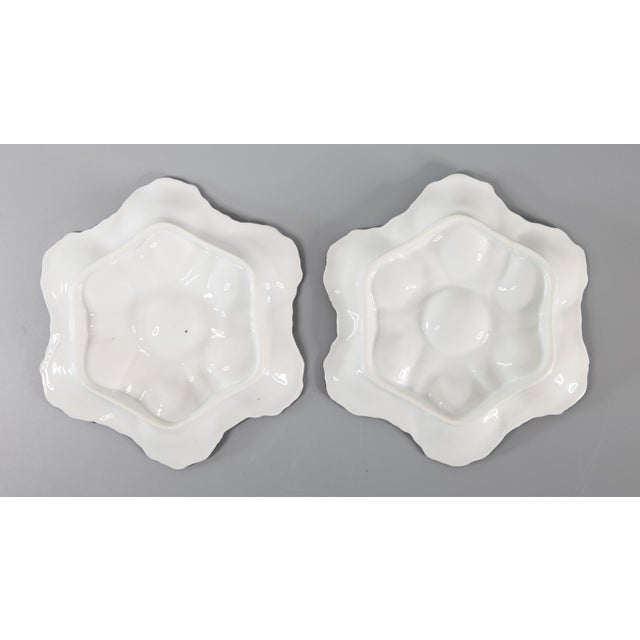 Antique French Oyster Plates - a Pair For Sale In Houston - Image 6 of 7