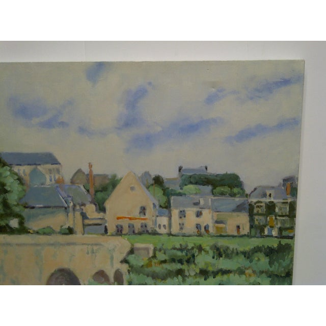 """20th Century Contemporary Original Framed Painting on Canvas, """"The Village"""" by Frederick McDuff For Sale - Image 4 of 7"""