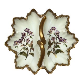 Art Nouveau Floral Hand Painted Porcelain Divided Serving Dish For Sale