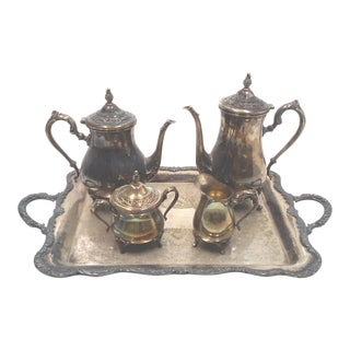Rogers Silverplate Coffee and Tea Service & Tray - 5 Pieces For Sale