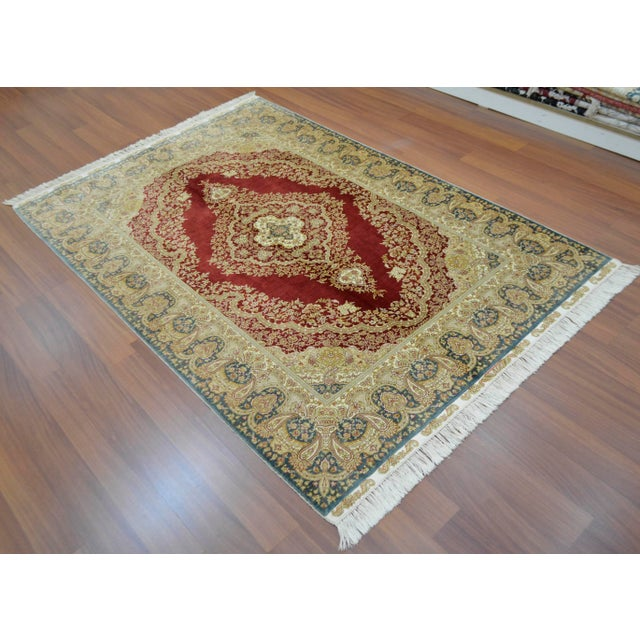 Hand Knotted Turkish Silk Rug - 4′1″ × 5′11″ - Image 3 of 9