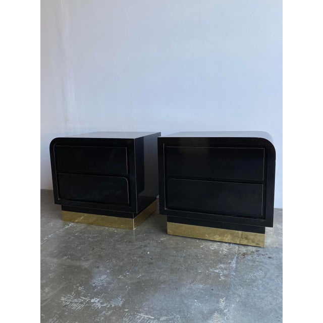 1980s Black Laqcuer and Brass Nighstands-a Pair For Sale - Image 12 of 12