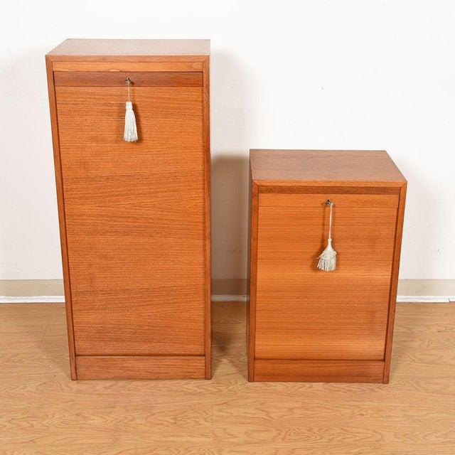 Brown Danish Teak Locking Tambour Door Filing Cabinet For Sale - Image 8 of 9