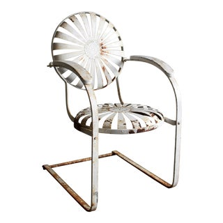 1930s Antique French Art Deco Francois Carre Sunburst Springer Patio Chair For Sale