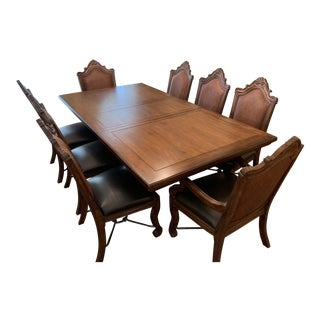 Thomasville Earnest Hemingway Collection (Cuban) Double Pedestal Dining Table With 8 Chairs For Sale