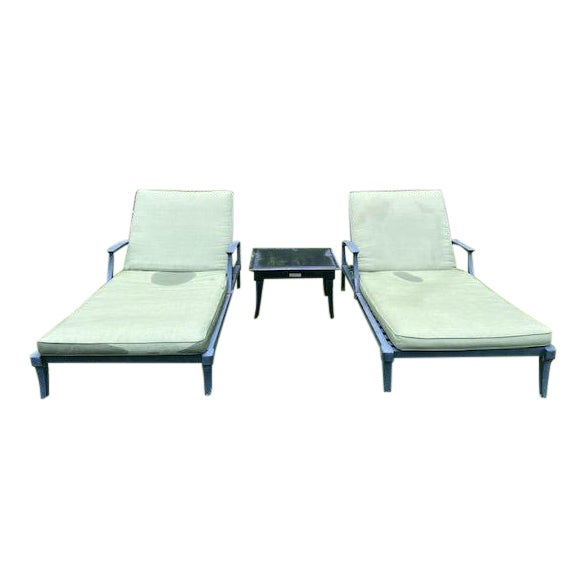 Restoration Hardware Klismos Chaise Lounge Chairs With Square Side Table- 3 Pieces For Sale