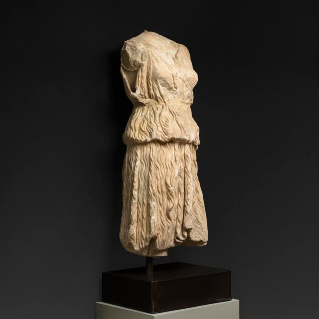 Neoclassical Roman Marble Torso of the Goddess Diana For Sale - Image 3 of 4