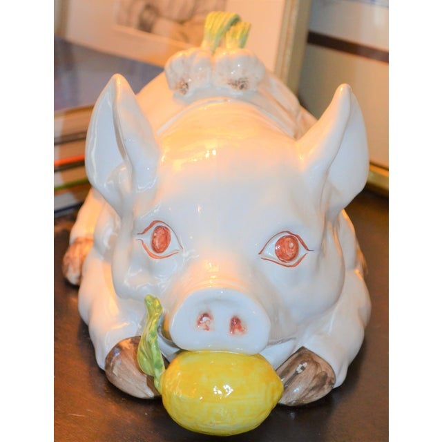 Large Majolica Pig Tureeen - Image 9 of 11