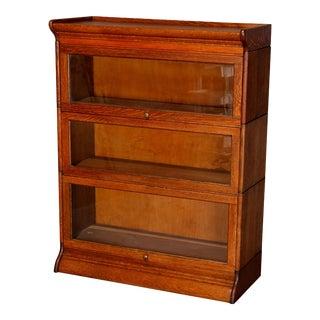 Antique Arts & Crafts Mission Oak GRM 3-Section Barrister Bookcase, circa 1910 For Sale