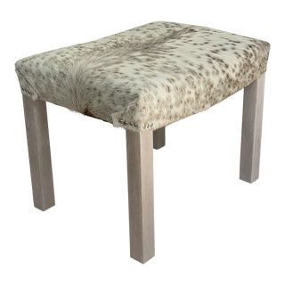 Modern Cowhide Bench With Whitewashed Legs by Vkg For Sale
