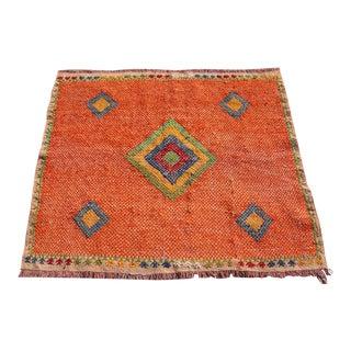 Turkish Kilim Rug, Vintage Area Orange Kilim, Doormat, 3.9 X3.7ft For Sale