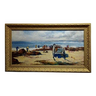 Cesar Vilot -Workers Cleaning a Beautiful Beach-Oil Painting C1930s For Sale