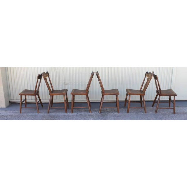 Set of Six Original Painted 19th Century Pennsylvania Plank-Bottom Chairs For Sale - Image 4 of 9