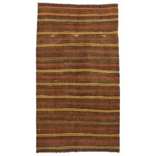 Vintage Turkish Boho Chic Flat-Weave Kilim Rug - 7′4″ × 10′10″
