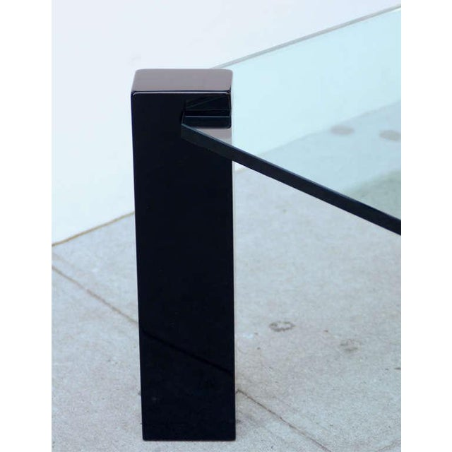 Exceptional Modernist Black lacquer and Glass Cocktail Table For Sale In New York - Image 6 of 9