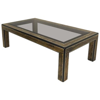 1970s Mid-Century Modern Bernhard Rohne for Mastercraft Acid Etched Brass Coffee Table For Sale