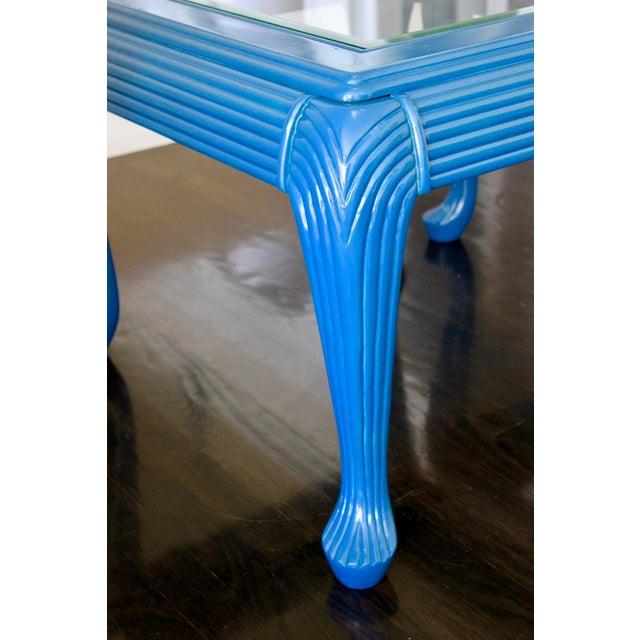 Art Deco Vintage Art Deco/Nouveau Skyscraper Peacock Blue Glass Side Tables- A Pair For Sale - Image 3 of 8