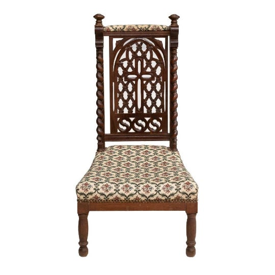 French Late 19th C. Antique French Hand Carved Oak Prie Dieu Prayer Chair Kneeler For Sale - Image 3 of 3