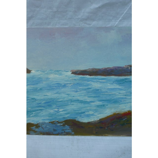 """Mid Century Painting """"Stormy Ocean,"""" H.L. Musgrave - Image 4 of 6"""