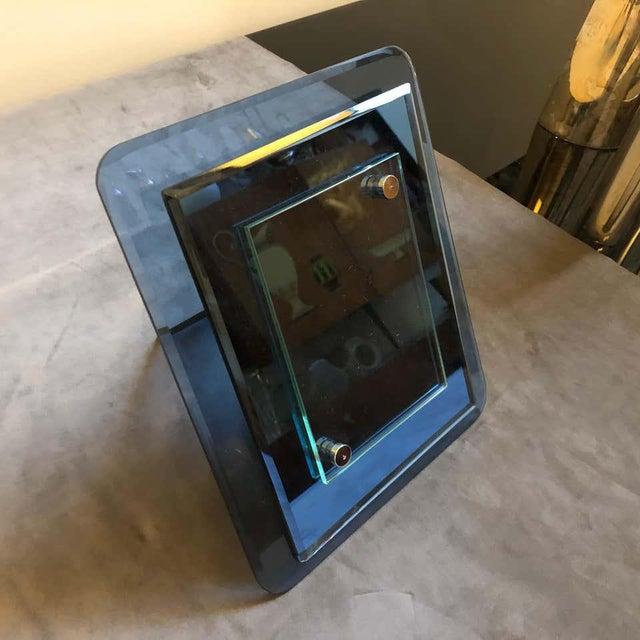 1970s Italian Vintage Cristal Arte Blue Glass Photo Frame For Sale - Image 9 of 13