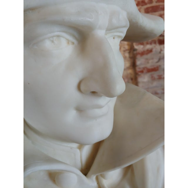 Napoleon Bonaparte Emperor 19th Century Marble Bust Hand Carved Carrara Marble Bust of Napoleon For Sale - Image 10 of 12