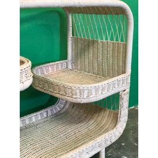 Vintage Palm Beach Regency Pink Wicker Bar Cart Preview