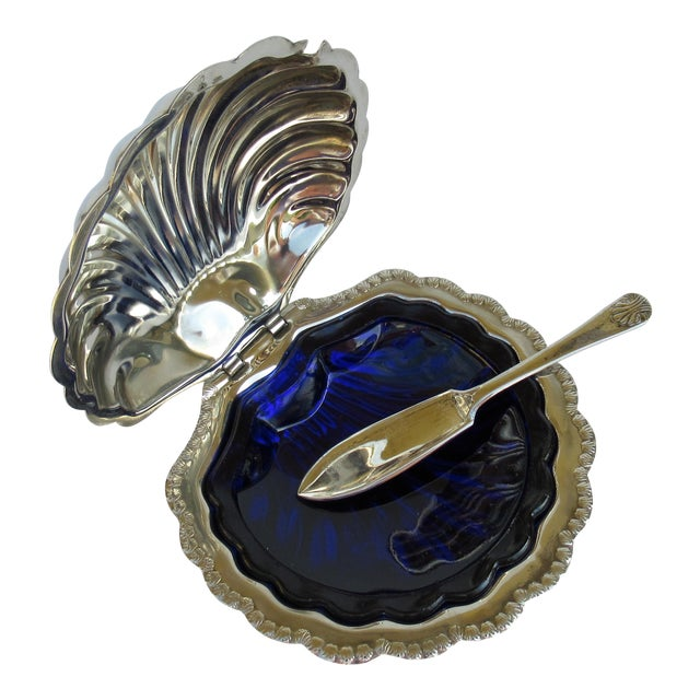 Hollywood Regency English Silver Plate Caviar Serving Dish With Cobalt Blue Glass Liner - 3 Pieces For Sale