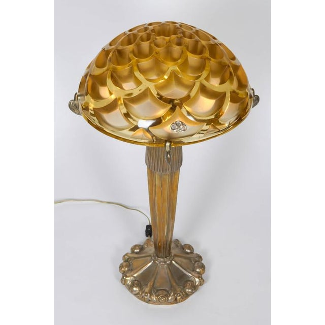"Lalique Table Lamp With a Rene Lalique ""Rinceaux"" Shade For Sale - Image 4 of 10"