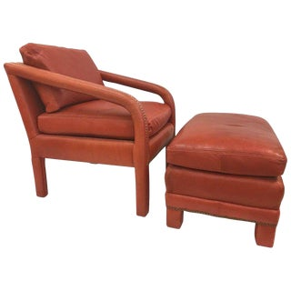 Leather Lounge Chair and Ottoman Style of Gilbert Rohde For Sale