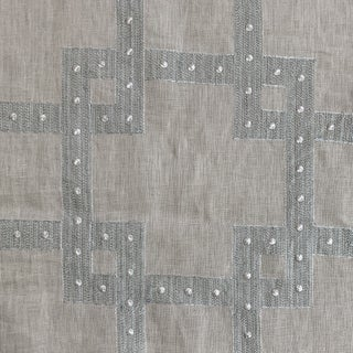 Grey-Blue Natural Embroidered Linen Fabric For Sale