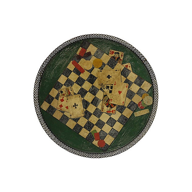 Antique French Gaming Tole Tray For Sale - Image 4 of 4