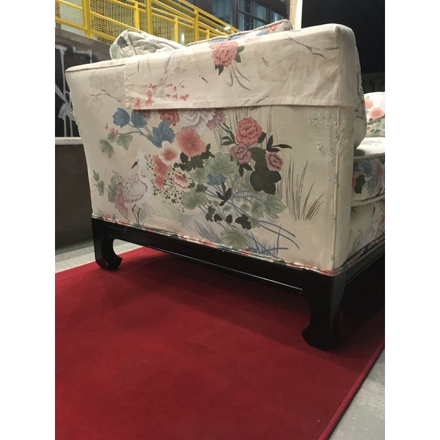 Mid-Century Modern Manner of Michael Taylor for Baker Tufted Chinoiserie Sofa With Ming Legs For Sale - Image 3 of 13