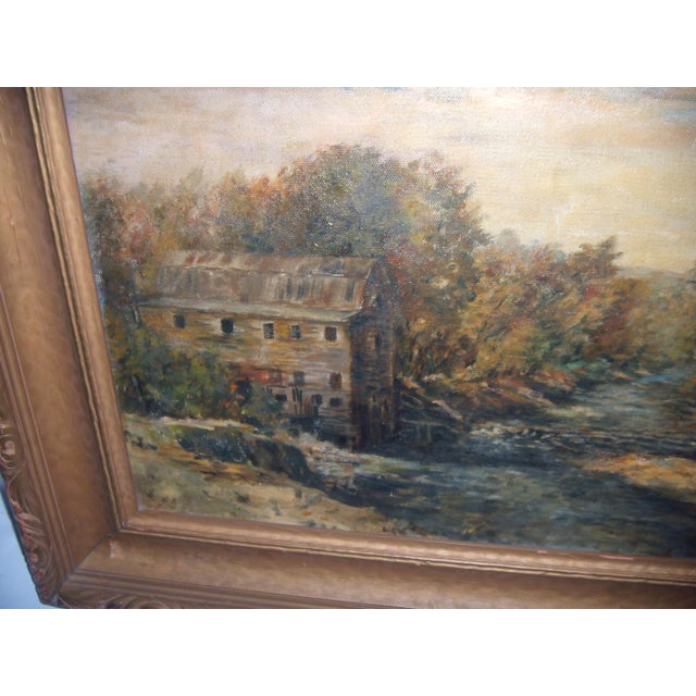 Painting of a Country Mill by a Stream For Sale - Image 7 of 8