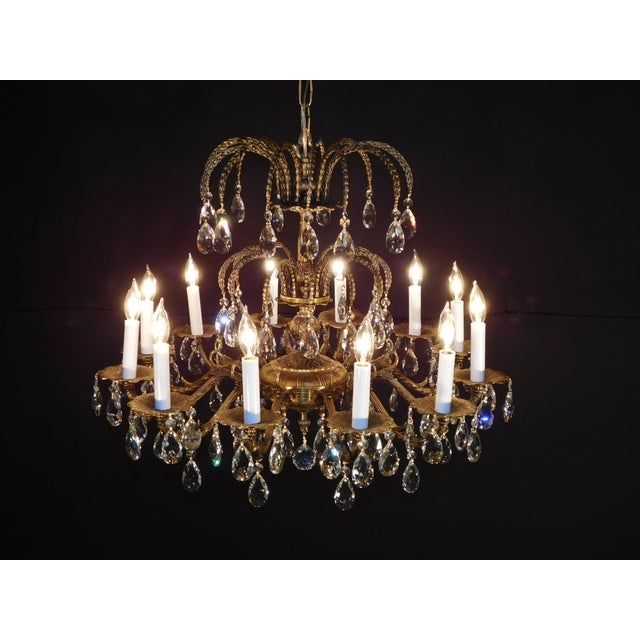 MASSIVE 12 Arm 12 Lite Antique French Brass Cut Lead Crystal Chandelier 27W 24T You are bidding on a fabulous MASSIVE 12...