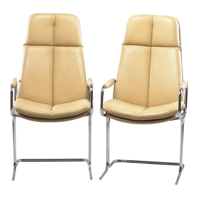 Tim Bates for Eleganza Collection at Pieff Chrome and Leather Armchairs - a Pair For Sale