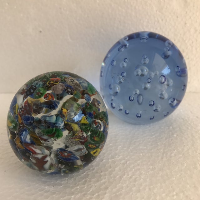 Glass Bubble Glass Vintage Paperweights - A Pair For Sale - Image 7 of 8