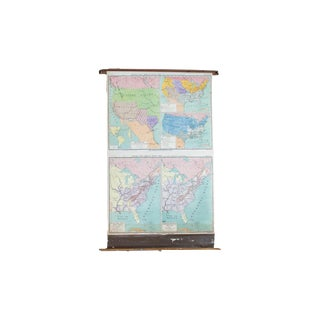 Vintage Pull Down Map of United States For Sale
