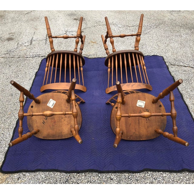 Mid 20th Century Vintage Mid Century S. Bent & Bros. Windsor Chairs - Set of 4 For Sale - Image 5 of 11