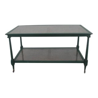 Regency 2-Tier Coffee Table With Caned Glass Top on Casters For Sale