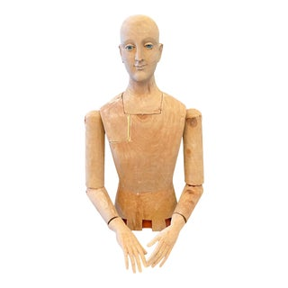 Antique French Life Size Reticulated Solid Wood Artist's Mannequin Sculpture For Sale