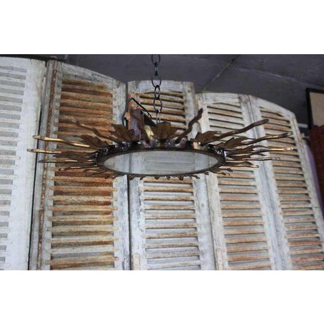 Spanish Gilt Metal Sunburst Flush Mount Ceiling Fixture - Image 3 of 8
