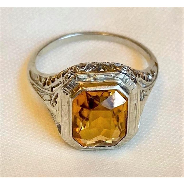 Early 20th Century Antique 18k White Gold and Citrine Ring For Sale - Image 5 of 10