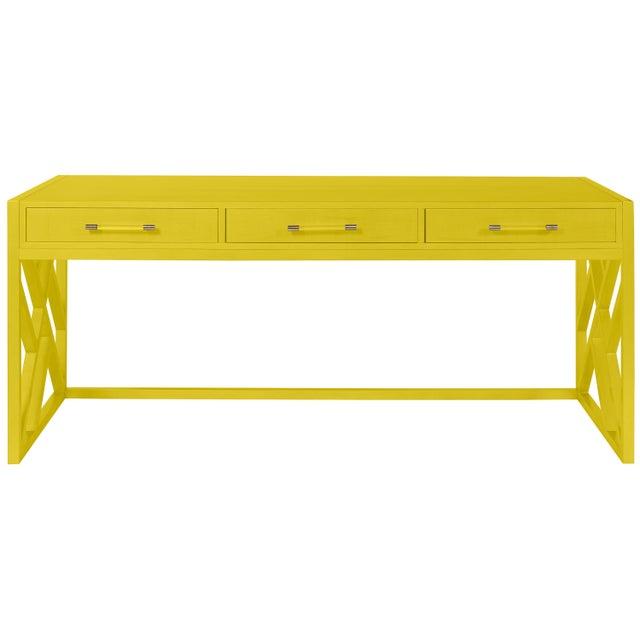 Transitional Casa Cosima CeCe Desk with Wood Fretwork Base, Citrus Burst For Sale - Image 3 of 3