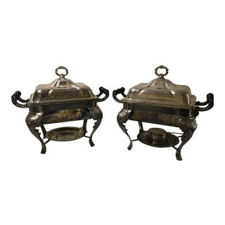 19th Century Style Silverplate Covered Buffet Server Chafing Dish a Pair Last Markdown For Sale