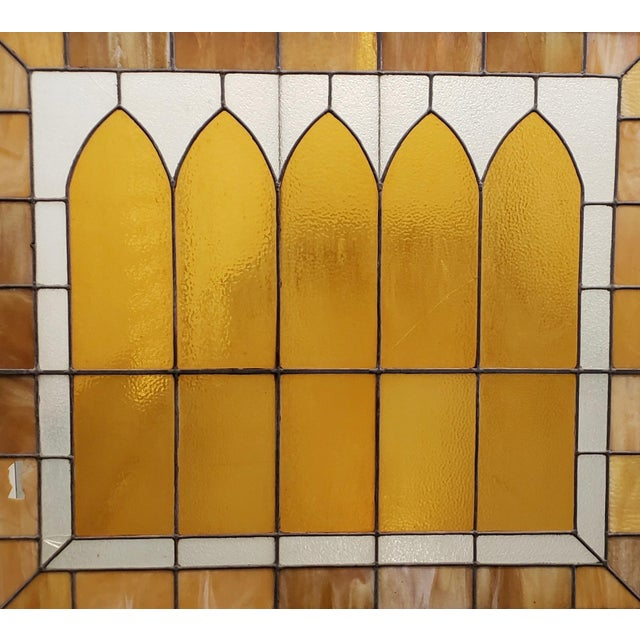 Large Scale Late 19th Century Stained Glass Window Panel c.1880 Fantastic stained glass window panel. Rich amber yellow...