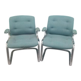 Steelcase Cantilever Chrome Arm Chair With Original Upholstery- a Pair For Sale